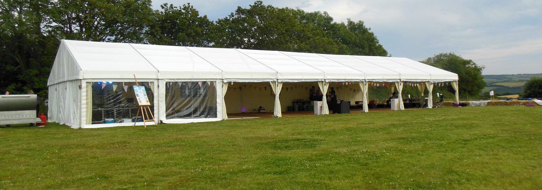 A wedding marquee pitched on Holsome Park site