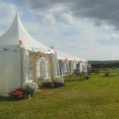 A wedding marquee on the site at Holsome Park