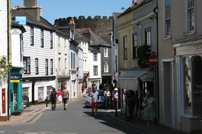 Totnes Fore Street with Castle in the background